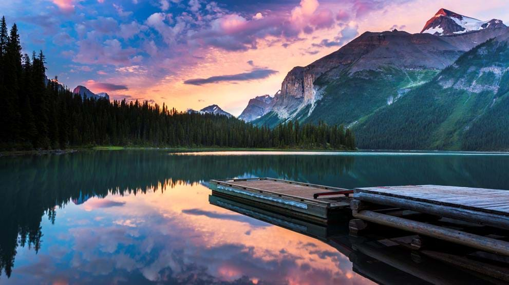 Maligne Lake i Jasper National Park - Rejser til Rocky Mountains
