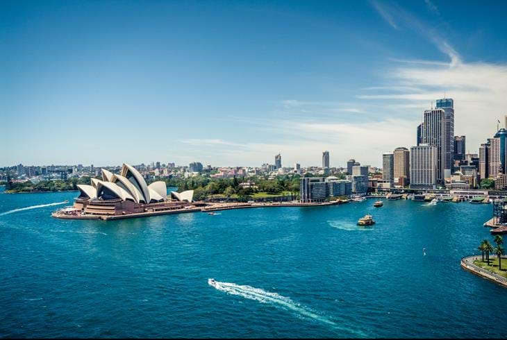 Operahuset i Sydney set fra Harbour Bridge