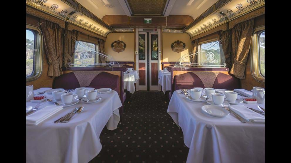 I den traditionsrige Queen Adelaide Restaurant kan I nyde regionale smage. Foto: Great Southern Rail